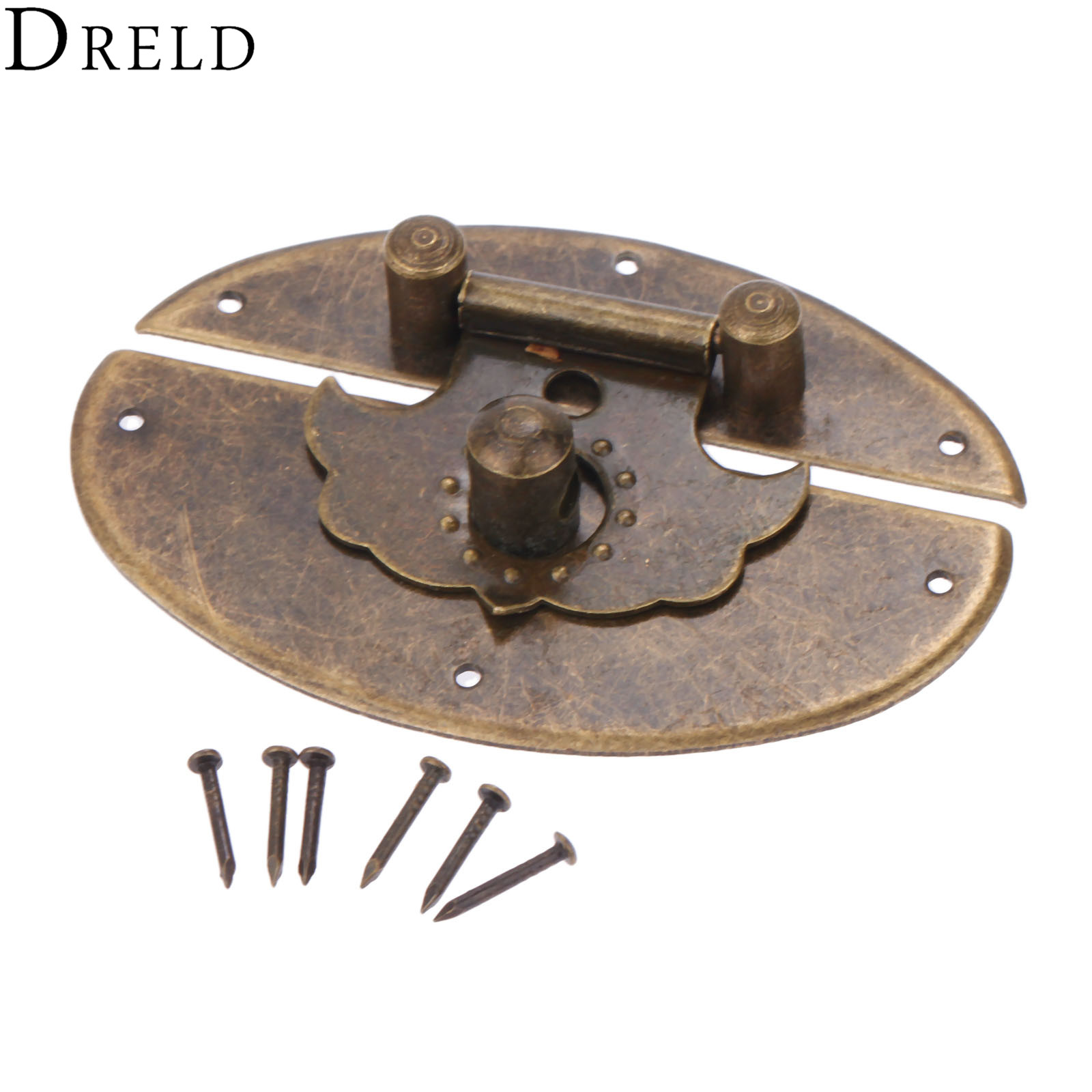 DRELD Antique Bronze Box Latch Hasps Lock Catch Latch For Jewelry Chest Box Suitcase Buckle Clip Clasp Vintage Hardware 63*42mm