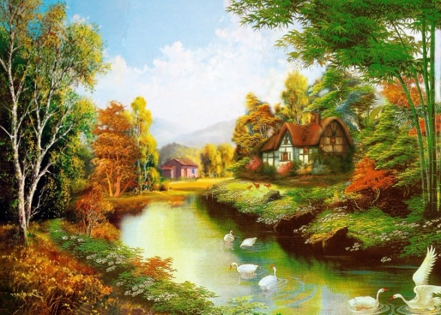 Beauty Fashion American Oil Painting Tv Background