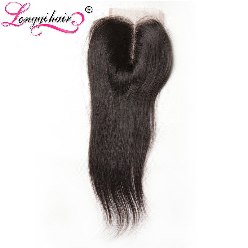 Longqi Hair Company Malaysian Straight Lace Closure Middle Free Three Part 4x4 Hand Tied Remy Hair