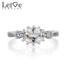 Leige Jewelry Genuine Natural White Topaz Ring Anniversary Ring November Birthstone Oval Cut Gemstone 925 Sterling Silver Ring