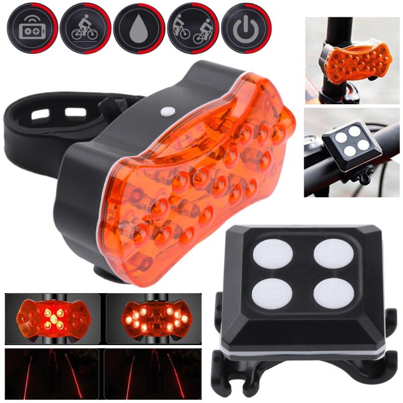 Bicycle Rear Tail Light Turn Signals Auto Control bicycle remote wireless USB Rechargeable 5LED Cycling 2Lasers Beams Bike Lamp meilan x5 wireless bike bicycle rear light laser tail lamp smart usb rechargeable cycling accessories remote turn led