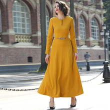 2016 good quality women fashion dress autumn winter yellow long maxi dress