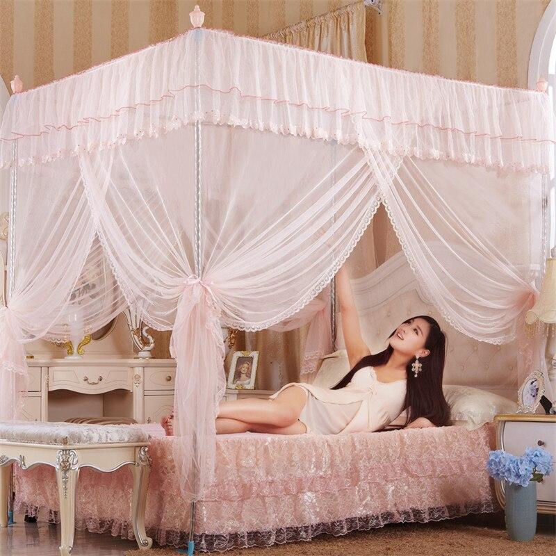byetee lujoso royal con adultos cama con dosel de acero inoxidable de tres puertas