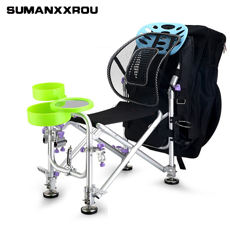 Increase and Widen Multifunctional Foldable Fishing Chair Outdoor Fishing Bag Oxford Chairs Tool with Cool Bag Backpack Set