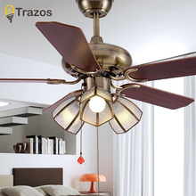 TRAZOS 42 Inch European Modern Retro Ceiling Fans With grass Restaurant Living Room Bedroom Light Fan 220 Volt Lamp