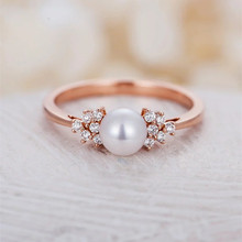 Huitan Classic Solitaire Ring with Created Pearl & Clear CZ Fashion Cocktail Party Rings for Women & Girls Wholesale Lots Bulk