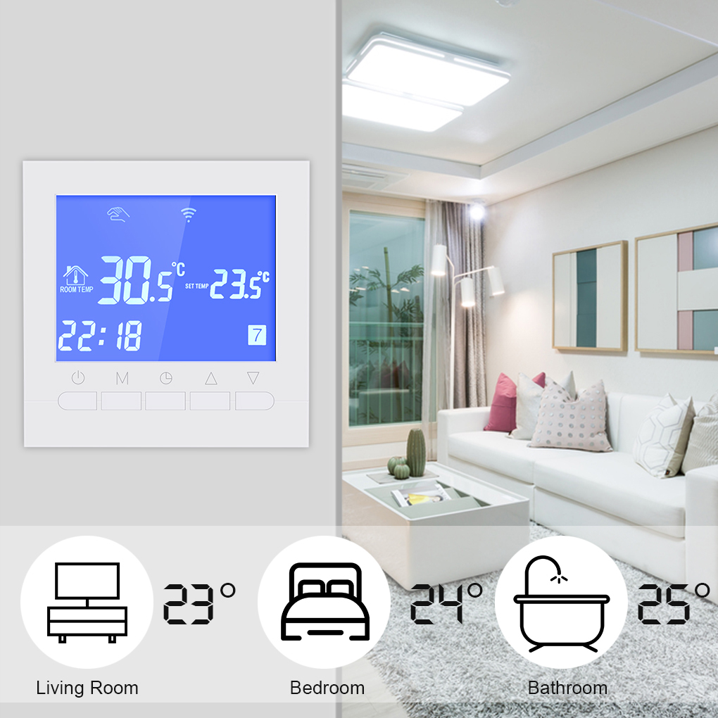 Programmable Wifi Thermostat Electric or Water Floor Heating Thermostat LCD Display Smart WIFI Temperature Controller