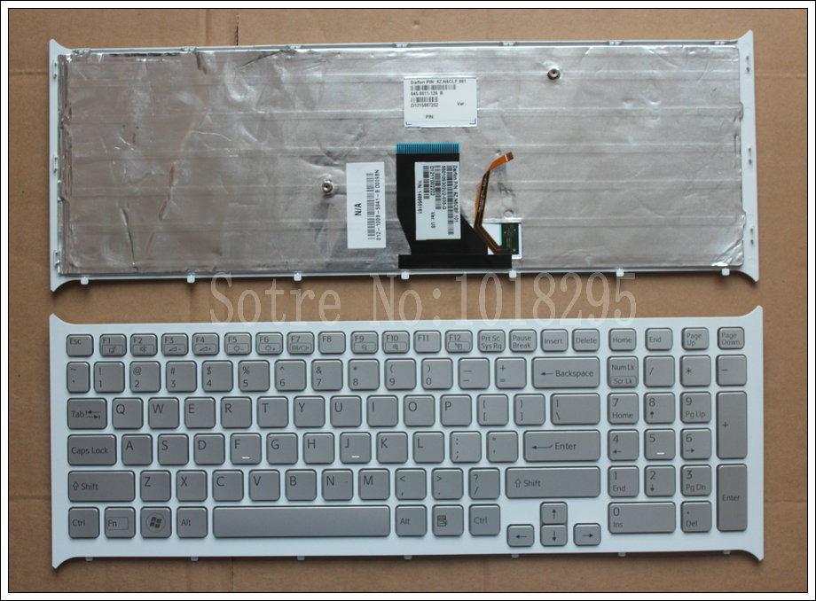 For SONY PCG-71613L PCG-71713L VPCCB VPCCB15FD VPCCB22FD US  laptop keyboard Silver with backlit Frame 148955161 9Z.N6CBF.101