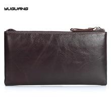 Genuine Leather Men Wallets Double Zipper Wallets Large Man Clutch Bag Phone Card Holder Male