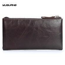 Genuine Leather Men Wallets Double Zipper Wallets Large Man Clutch Bag Phone Card Holder Male Purse Men Leather Wallet Purse