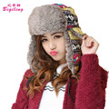 Outdoor Russian Bomber Hats  Women  Ear Flap Cap Winter Casual Riding Ski Cap Snowflake Heart Printed Winter Ushanka Hats