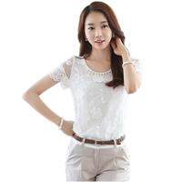 Elegant Women Blouse Summer Chiffon Blouses Shirt Pearl Embroidered Organza Shirt Hollow Out Short Sleeve Slim