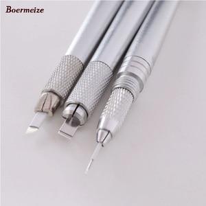 Image 5 - Kaş Manuel dövme kalemi 3 Kafaları Kilit Iğne 30 adet İğneler Kalıcı makyaj kalemi Kaş Dudak Dövme Microblading kalem