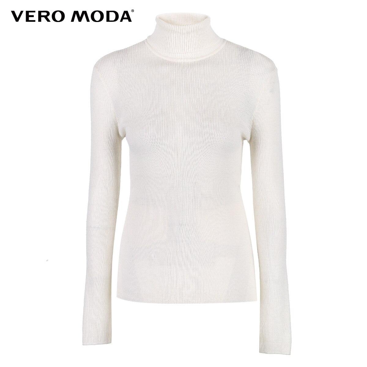 Vero Moda Fall 100 Wool Slim Fit Minimalist Knitted Base turtleneck Knitted Sweater women 318324522