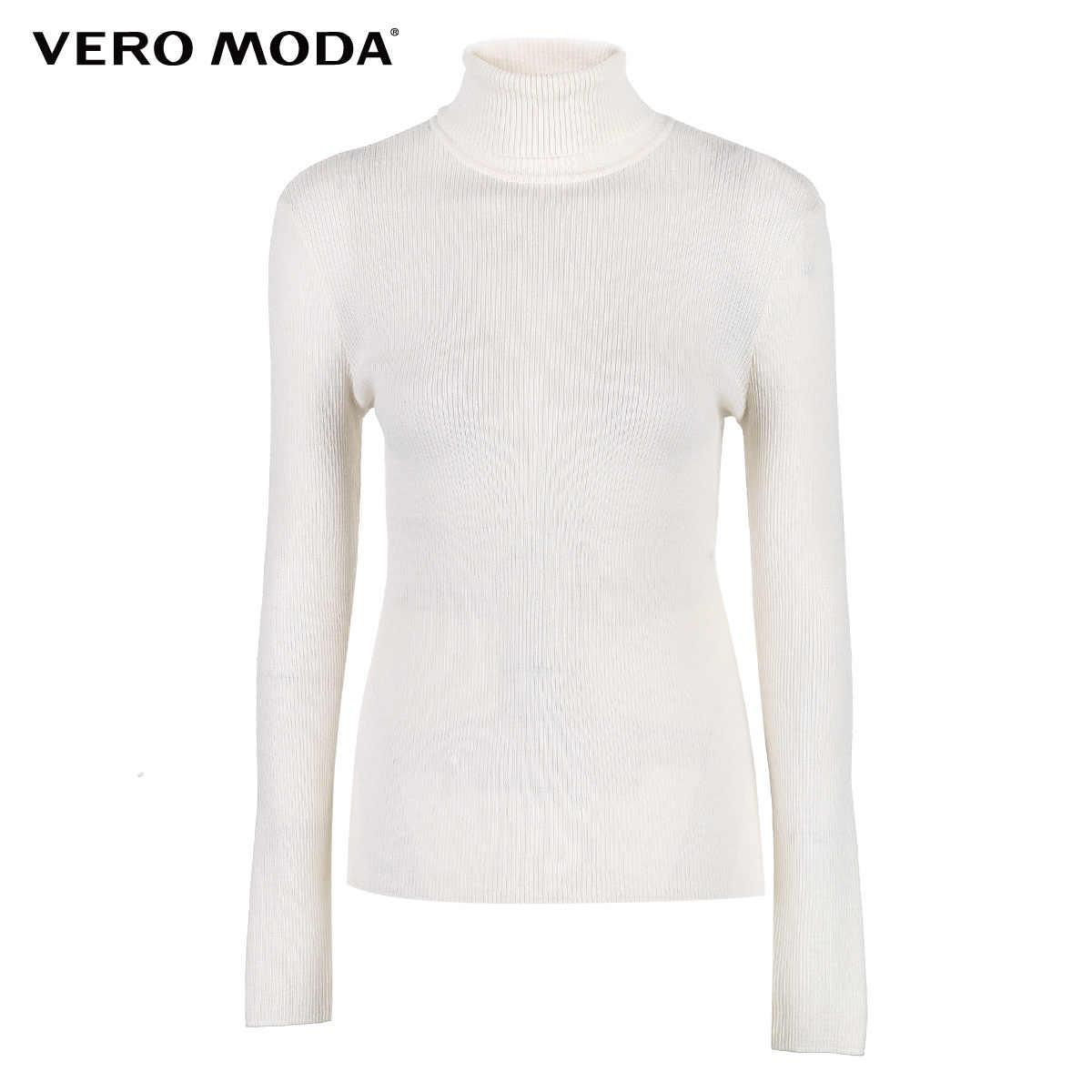 Vero Moda jesień 100% wełny Slim fit z dzianiny bazy sweter z dzianiny z golfem kobiety | 318324522