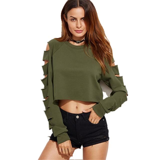 S xl women t shirt vetement femme 2017 fashion sexy ladies casual crop top long sleeve hole punk - Top femme sexy ...