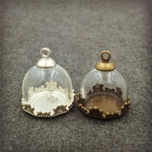 50sets/lot 15mm half of glass globe with base and cap set vial pendant fashion necklace