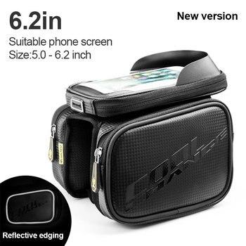 Écran tactile sac de vélo cadre tête avant Tube supérieur sac de vélo Double poche sac de cyclisme étanche sac de téléphone portable accessoires de vélo