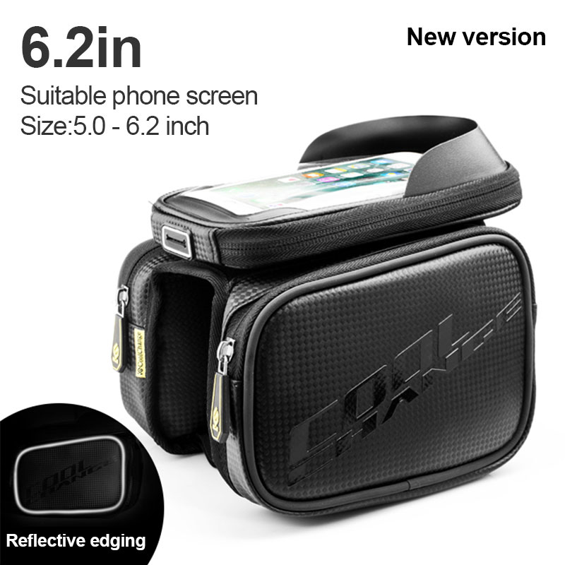 Touch Screen Bicycle Bag Frame Front Head Top Tube Bike Bag Double Pouch Cycling bag Waterproof Cell Phone Bag Bike Accessories bicycle touch screen tube bag bike cycling touch screen mobile phone bag pannier bag