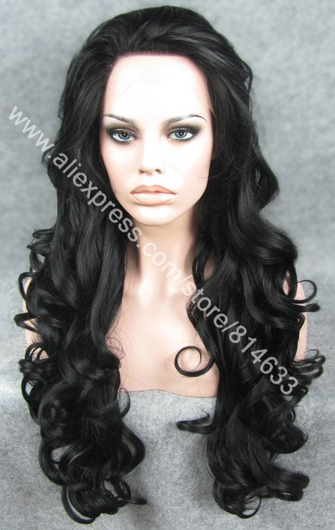 #1 Black 26 Long Realistic Charming Wavy Lace Front Synthetic Wig Heavy Density Heat Resistant Synthetic Wig S05