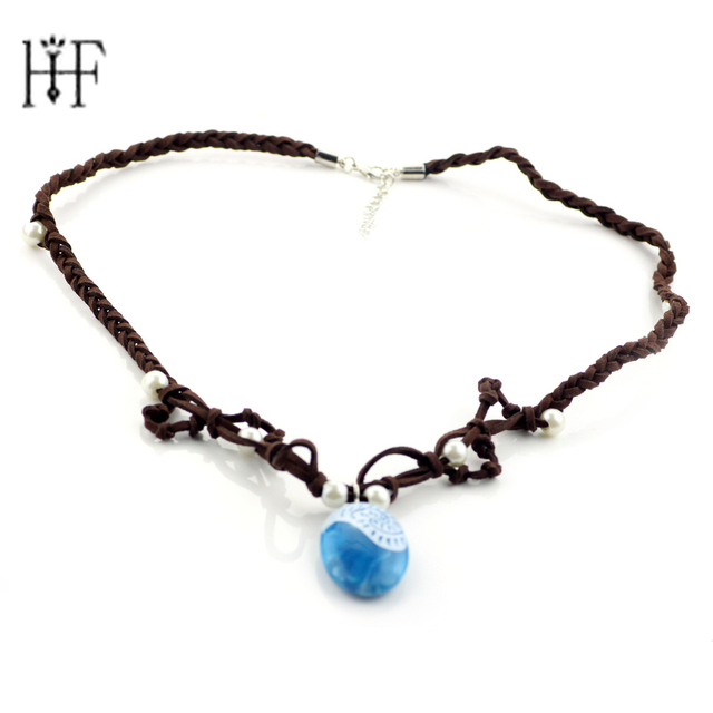 Princess moana ocean romance rope chain necklace pendants handmade princess moana ocean romance rope chain necklace pendants handmade blue stone pendant with pearl for aloadofball Image collections