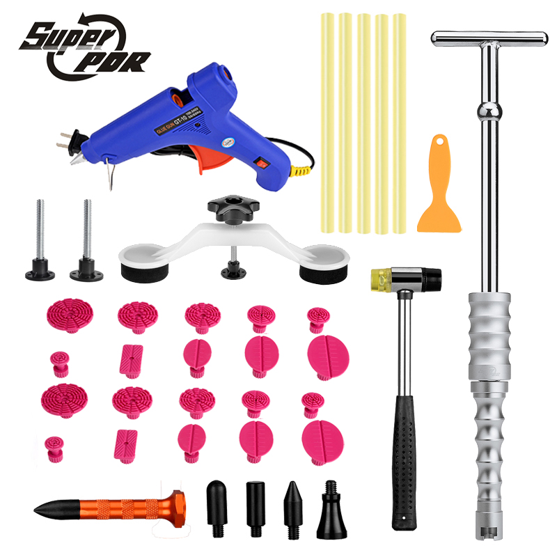 Super PDR Tools Dent Removal tool kit Dent Puller PDR Glue Tabs Glue Gun Hot Melt Glue Sticks Paintless Dent Repair Tools pdr tools to remove dents car dent repair paintelss dent removal puller kit lifter removal glue tabs fungi sucker hand tool set