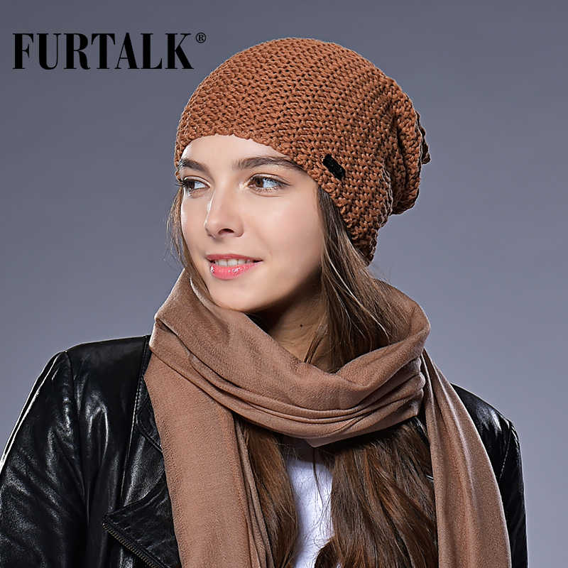 a27470c3 Detail Feedback Questions about FURTALK Woman Knitted Beanie Hat Caps  Autumn Winter Wool Hats for Women Slouchy Hat Female Fashion Girls Hats on  ...