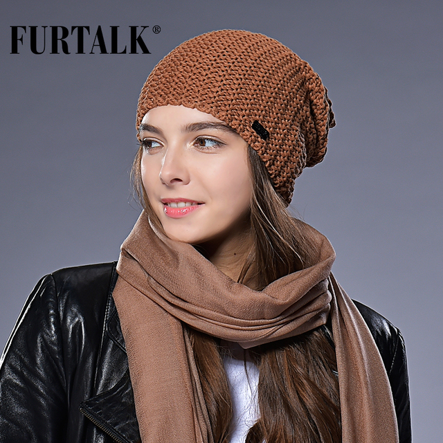 FURTALK Woman Knitted Beanie Hat Caps Autumn Winter Wool Hats for Women Slouchy Hat Female Fashion Girls Hats