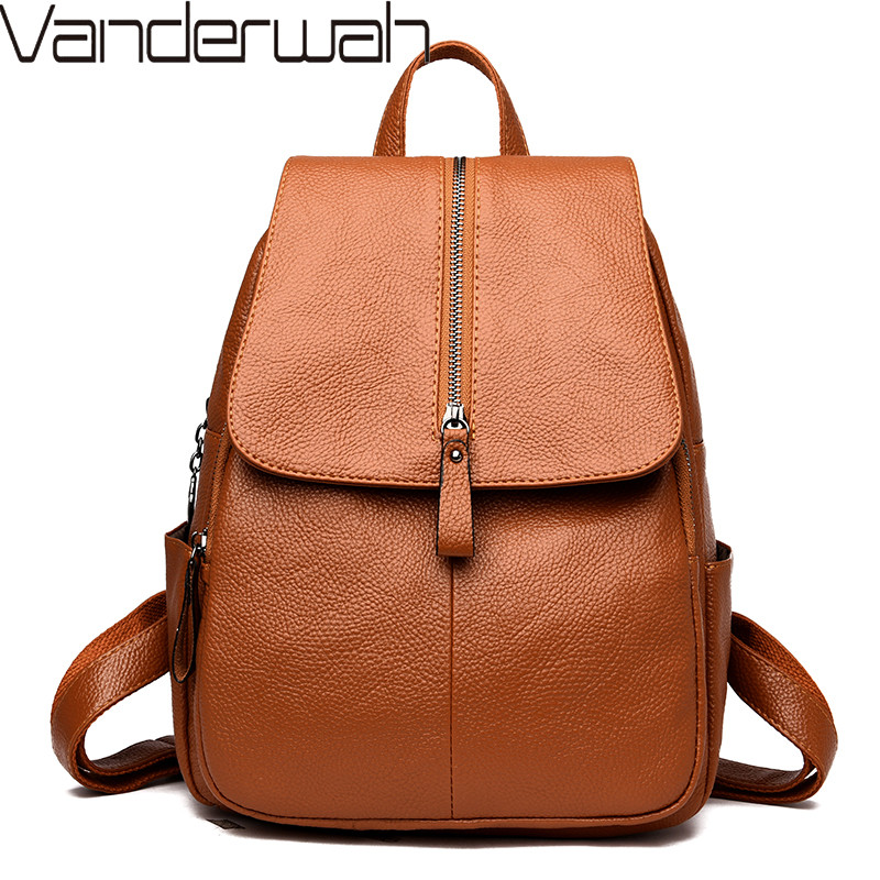 VANDERWAH High Quality Leather Backpack Woman New Fashion Female Backpack String Bags Large Capacity School Bag Mochila Feminina термопот rolsen rlt 4202