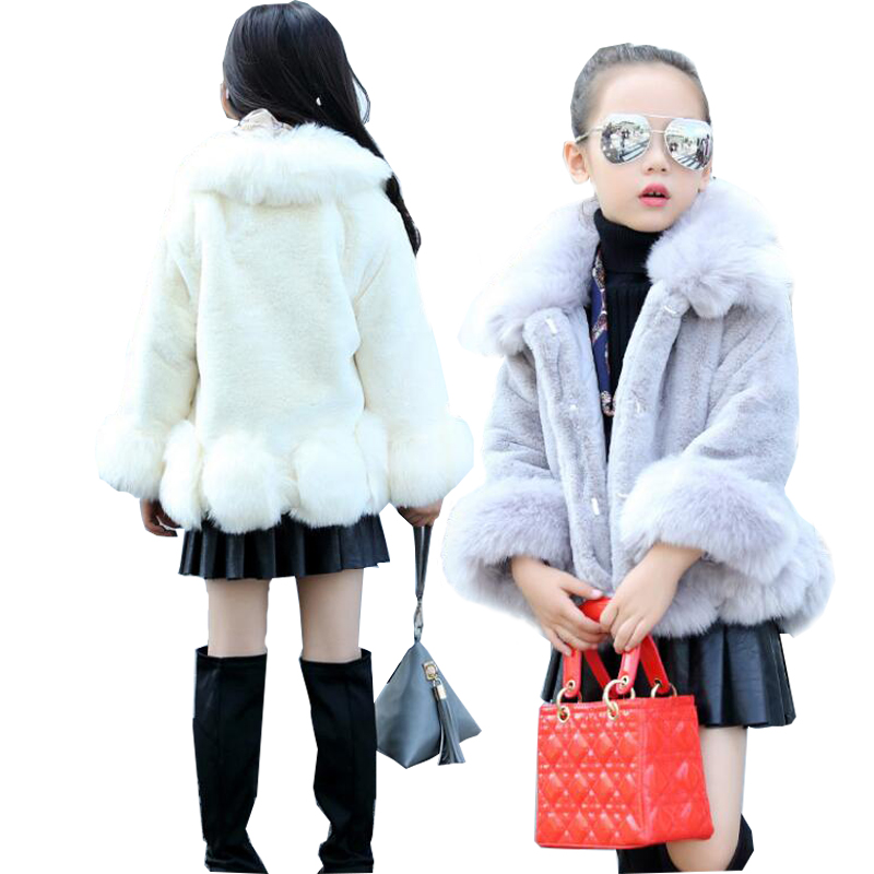 2017 Baby Girls Clothes Winter Girls Jackets Children Kids Girl Faux Fur Coat Outwear Little Girl Long sleeve Fur Coat Jacket girls faux fur coats little girl pink jacket with fur o neck children s faux fox fur clothes long sleeve soft fur winter coats