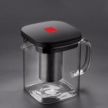2 размера, квадратный стеклянный чайник, хорошее прозрачное боросиликатное покрытие, 304 нержавеющая сталь, ситечко для заварки, набор чайников и кофейников