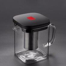 2 rozmiary kwadratowe szklane czajniczek dobre jasne Borosilicat z 304 zaparzacz ze stali nierdzewnej sitko ciepła herbata kawa zestaw garnków czajnik narzędzie