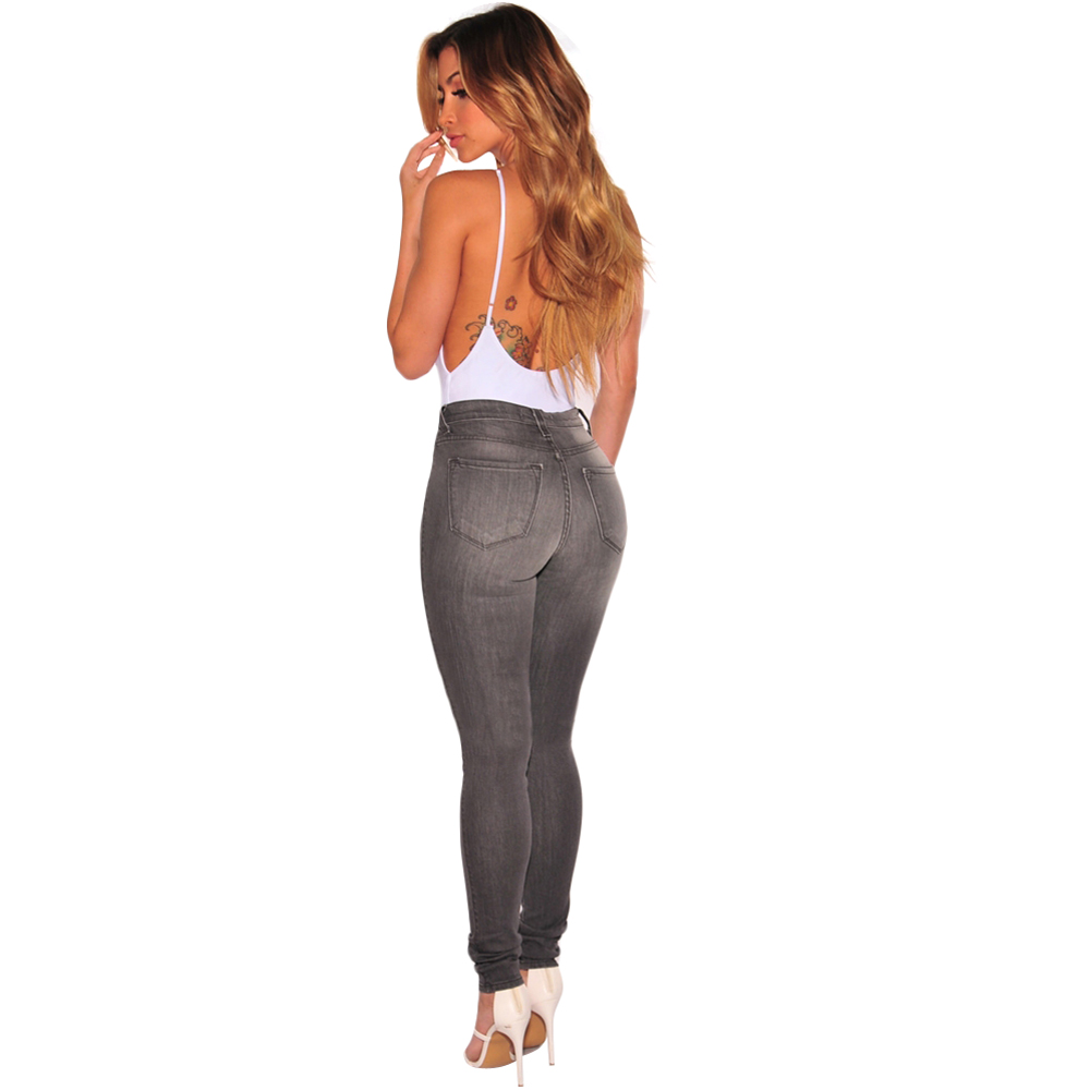 New Large Size Cotton Slim Was Thin Gray Washed Feet Jeans Ladies Hole Fashion Tight Pants Stretch Hip High Waist  S--3xl