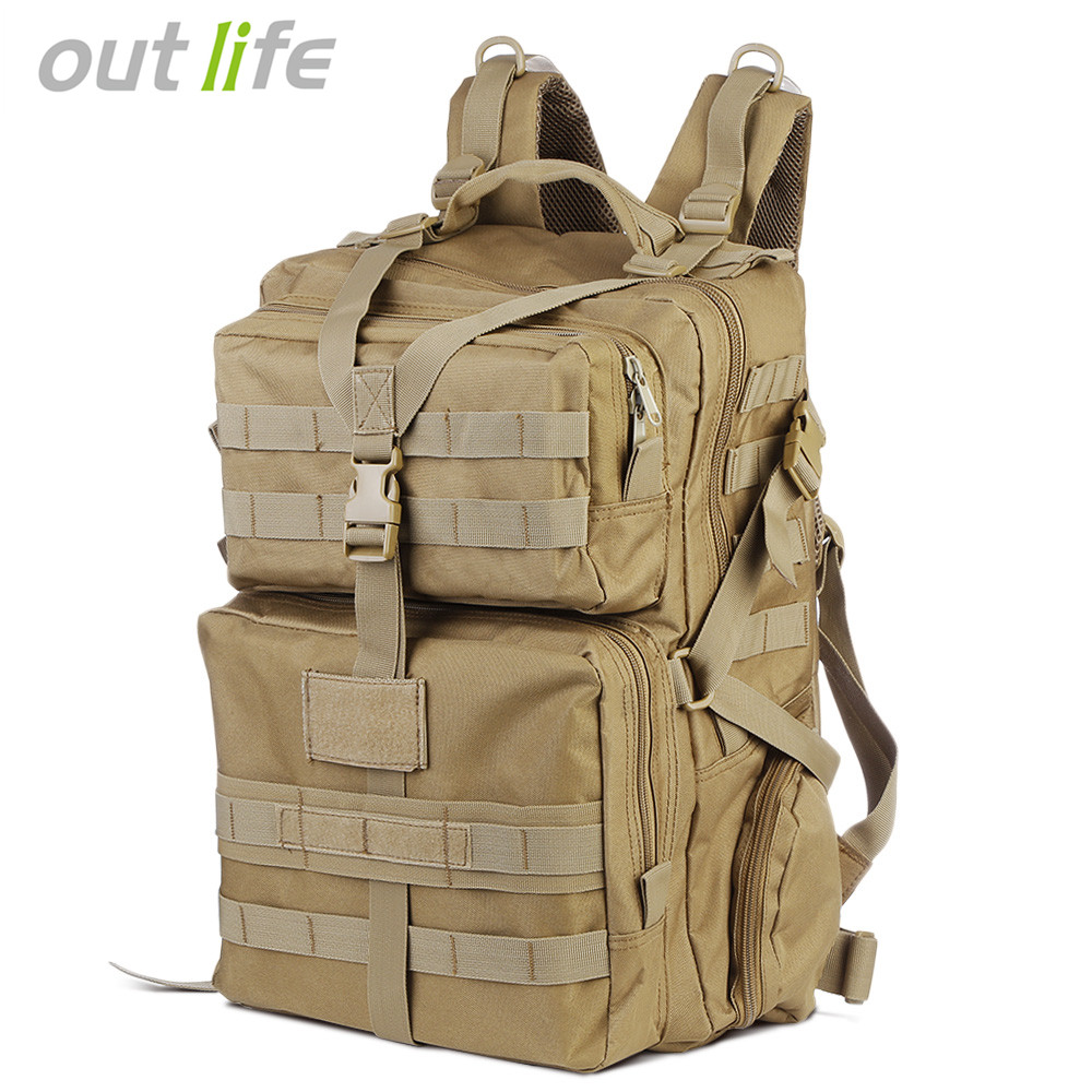 Outlife 45L Military Tactical Backpack Army Molle Bag Assault Backpack Trekking Rucksack for Outdoor Hiking Camping Hunting molle tactical military hunting usmc army molle hiking hunting camping rifle backpack bag high density nylon backpack