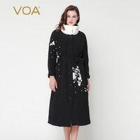 VOAคลาสสิกสีดำและสีขาวกับวินเทจมิงค์Nagymarosปกผ้าฝ้ายเบาะjackerปักผ้าไหมหนักเสื้อหนาวM7272