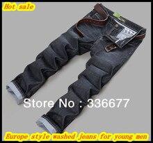 Бесплатная Доставка Европа стиль мода хлопок высокого качества мыть джинсовой/ковбойские джинсы для молодых мужчин QR-2483