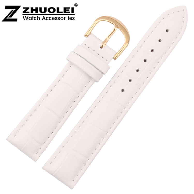 18mm New Womens High Quality White Genuine Leather Watchbands Watch Strap Bracelets With Gold Stainless Steel Clasp Watch Buckle стоимость