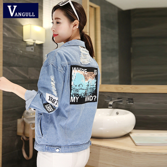 Women Frayed Denim Bomber Jacket Appliques Print Where Is My Mind Lady Vintage Elegant Outwear Autumn Fashion Coat 1