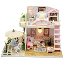 Toys for Children Miniature Diy Puzzle Toy Doll House Model Wooden Furniture Birthday Christmas Gifts Pink Loft Villa