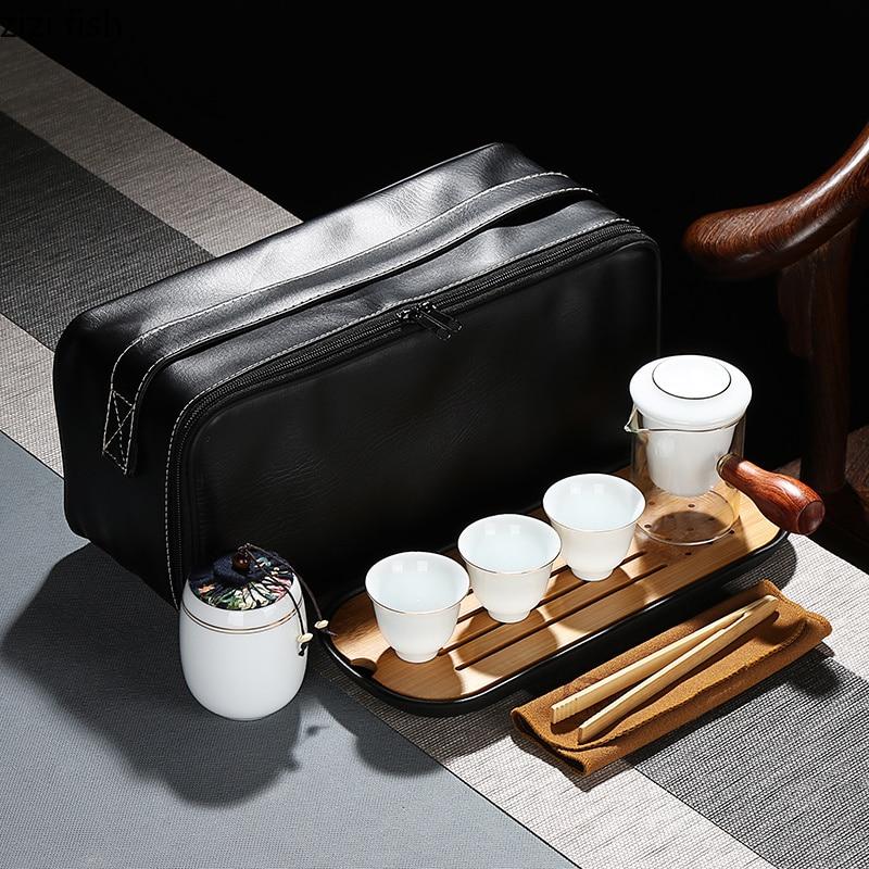 travel Tea set Portable bag One pot and three cups Glass teapot Ceramic teacup Household Simple Tea set tea pot with cup