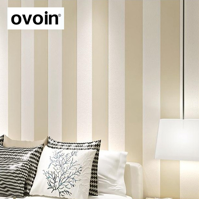 Einfache Breiten Vertikale Streifen Tapete Für Wände Gelb Beige Und Weiß  Wand Papier