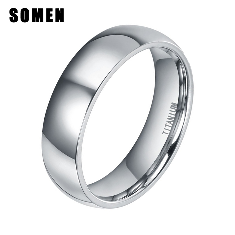 6mm Silver Titanium Rings For Women Classic Wedding Band Engagement Promise Ring Dome Polished Female Rings Fashion Jewelry
