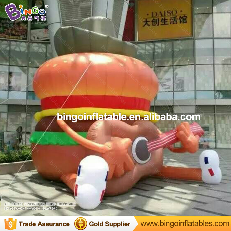 Giant 6M high Inflatable hamburger with guitar inflatable advertising hamburger balloons outdoor event / show decoration toys inflatable cartoon customized advertising giant christmas inflatable santa claus for christmas outdoor decoration