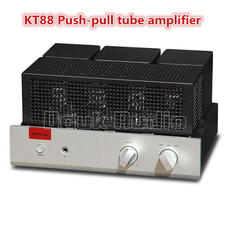 Douk Audio High-power Integrated KT88 Push-Pull Vacuum Tube Amplifier Stereo HiFi Single-ended Class A Tube Headphone Amp 35W*2 douk audio pure handmade mini 6p3p vacuum tube amplifier 2 0 channel stereo hifi class a power amp 5w 2