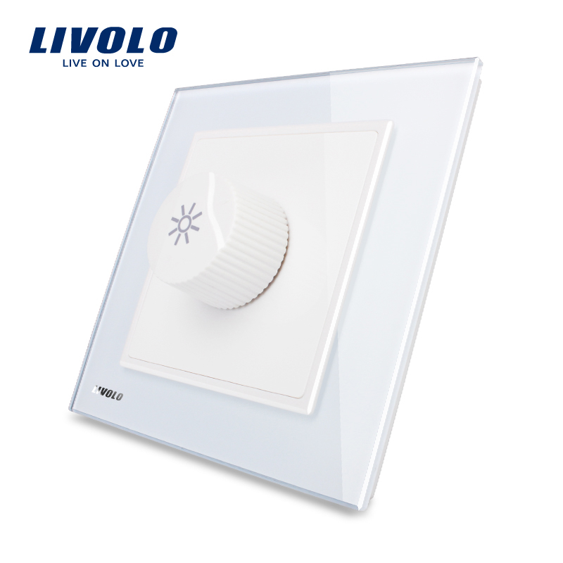 Livolo UK standard New Home Wall Light Dimmer Switch, White Crystal Glass Panel, AC 110~250V VL-W291G-12 livolo white glass dimmer