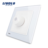 Free Shipping Livolo New Dimmer Switch White Crystal Glass Panel AC 110 250V Home Wall Light