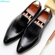 QYFCIOUFU 2019 High Quality Luxury Italian Brand Dress Shoes Men Slip On Office Shoes Pointed Toe Formal Shoes Mens Wedding Shoe berdecia new mens glitter wedding shoes italian pointed toe mens shoes slip on oxford shoes for men