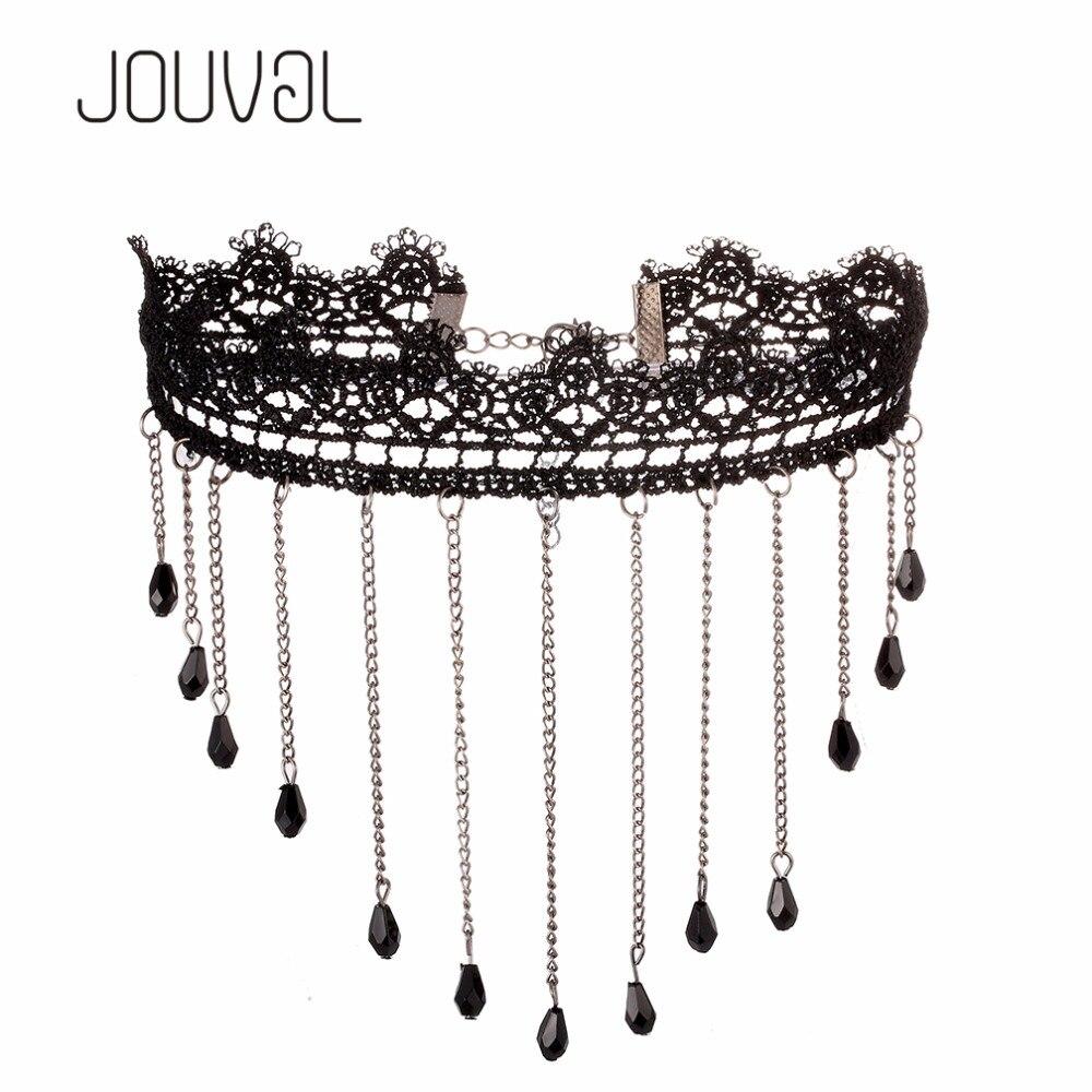 JOUVAL Chokers Sexy gótico negro encaje cuello gargantilla Collar Vintage Chocker de las mujeres del Victorian del venta