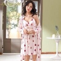J&Q Kimono Robe 2019 Spring Pink Lingerie Robe Bridesmaid Robe Strawberry Print Cotton+ Modal Robe+cami Pj Set Women Bathrobe