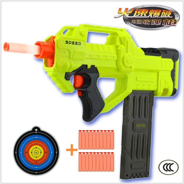 Children's Toy Gun Electric Automatic Rapid-Fire Long Range Soft Bullet  Blaster Nerf Style Toy
